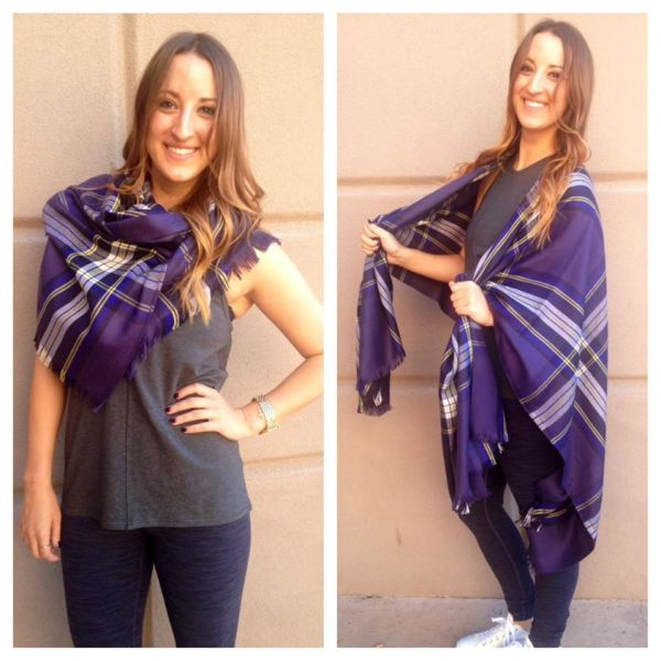 Lululemon nightfall/pigment blue/black grape plaid pranayama scarf