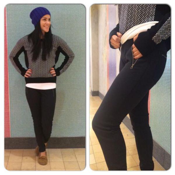 Lululemon black white herringbone pattern yogi crew sweater better together pants