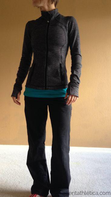 068fff253 Lululemon mini check pique forme jacket black dog runner pants
