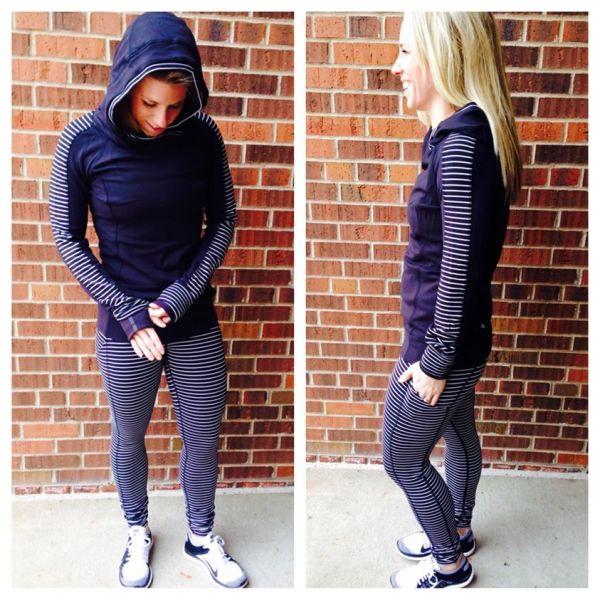 Lululemon black parallel stripe think fast hoodie speed tights