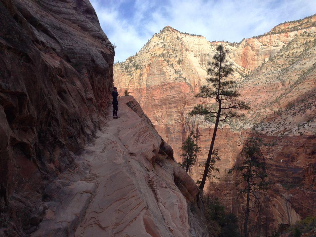 Zion National Park Hidden Canyon hike: hiking toward the canyon