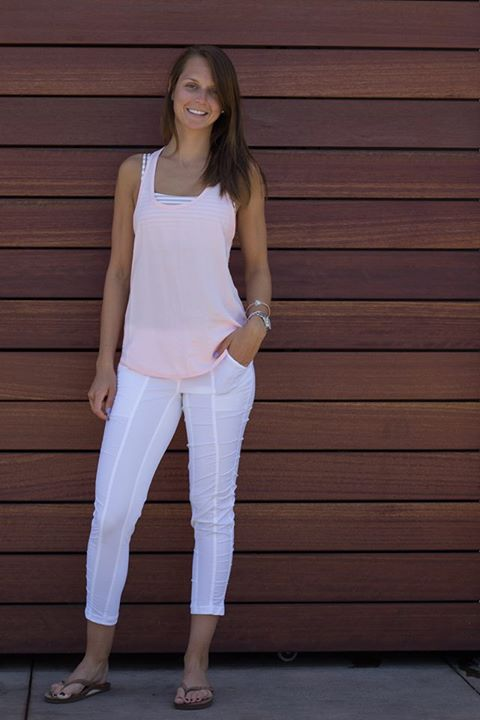 Lululemon strawberry milkshake principle tank white street to studio pants