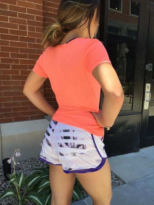 Lululemon sunset stripe iris flower super squad shorts