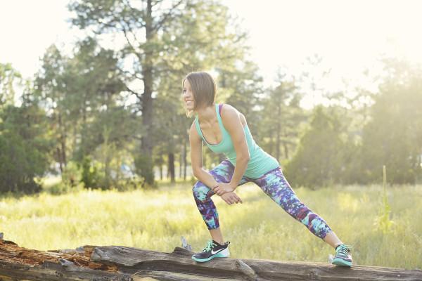Workout outfit: Athleta floral fade sonar capris + lululemon bali breeze cool racerback