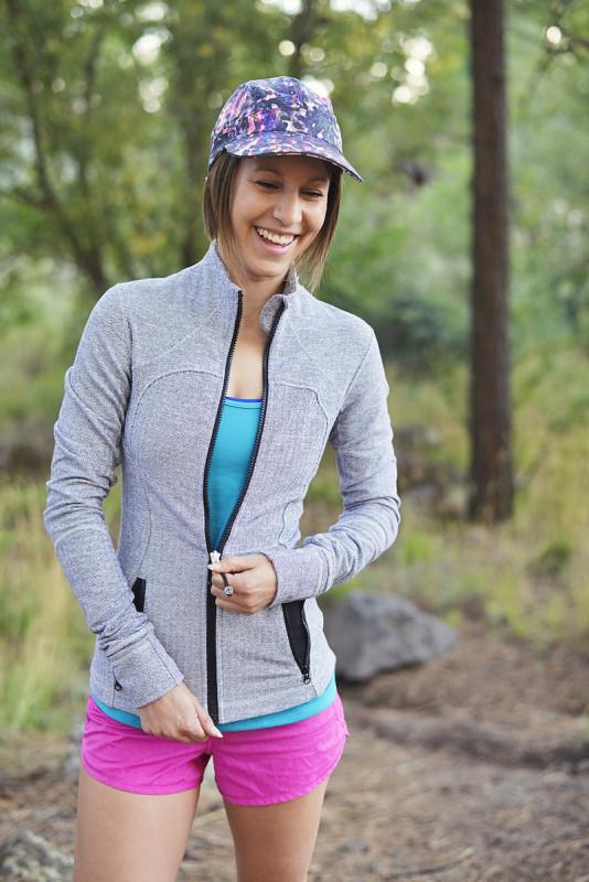 Lululemon white herringbone forme jacket heathered paris pink speed shorts