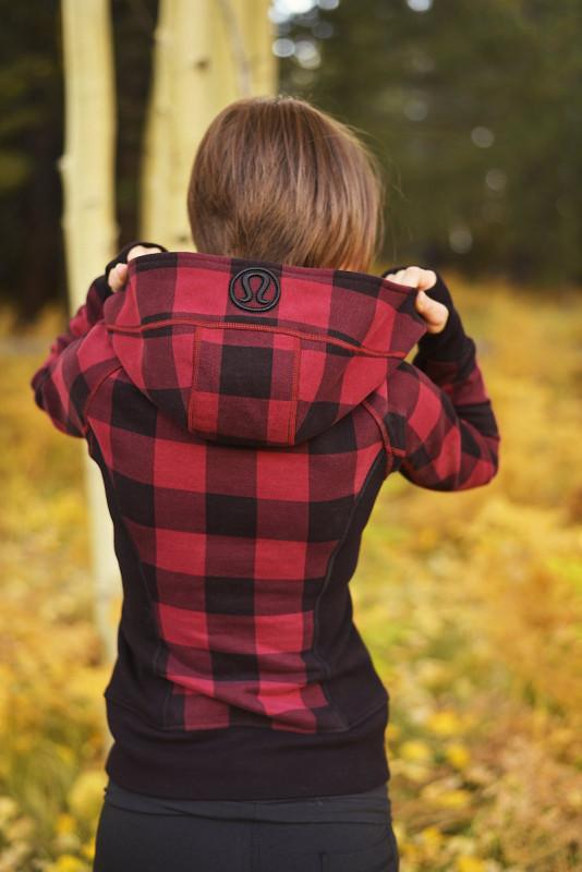 Lululemon lumberjack scuba hoodie mini camp check cranberry