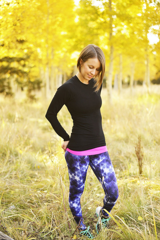 Vie Active satellite orchid rockell tights Sweaty Betty glisten long sleeve