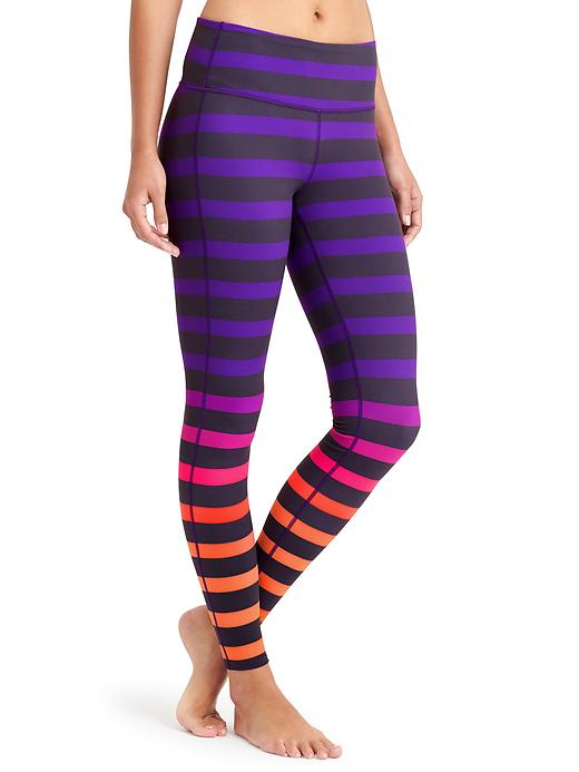 Athleta majestic purple bold stripe chaturanga tight