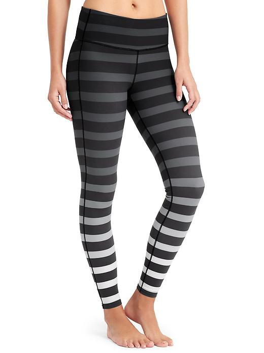 Athleta black bold stripe chaturanga tight