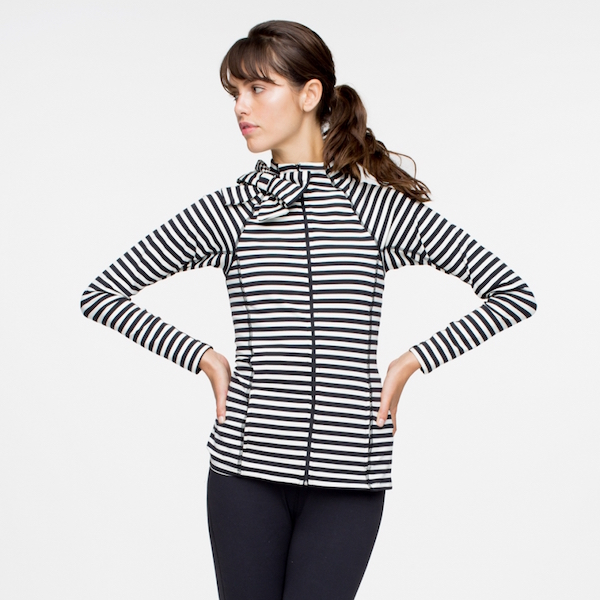 Beyond Yoga Kate Spade neck bow stripe jacket