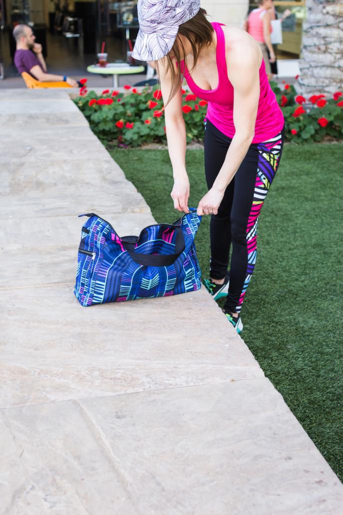 Mara Hoffman printed voyager blue gym bag