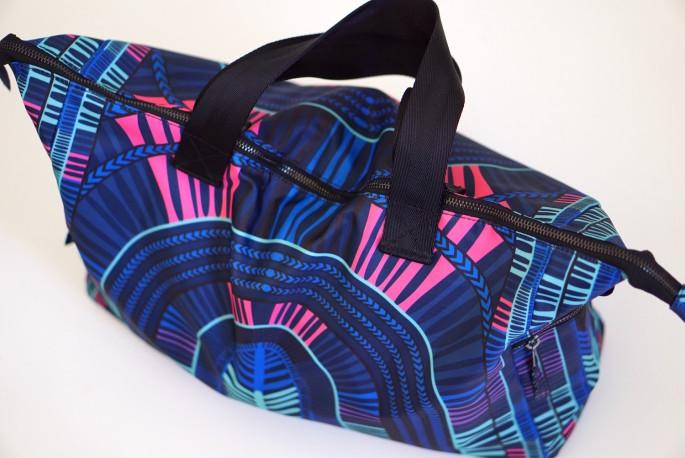 Mara Hoffman voyager blue gym bag review - top