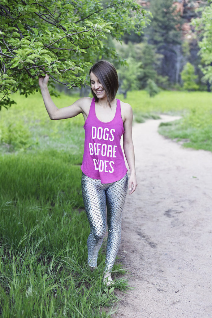 Fun yoga outfit - dogs before dudes