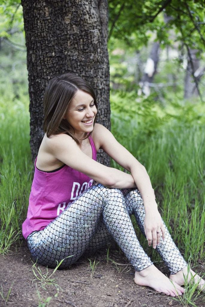 Silver mermaid leggings for yoga
