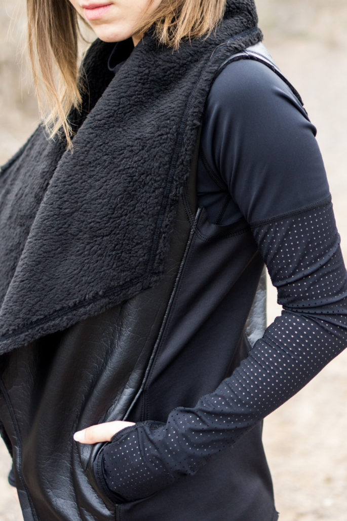 Draped faux leather vest with sherpa lining