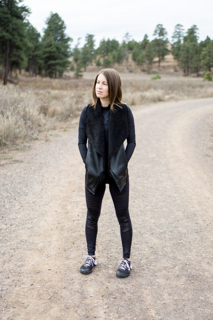 All black athleisure outfit