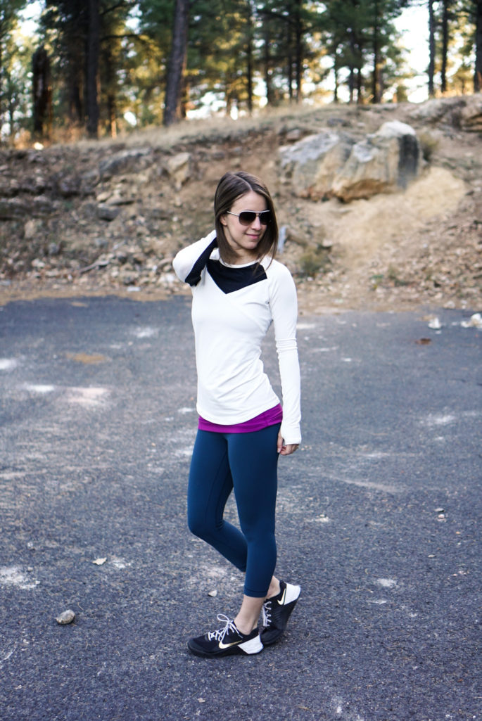 Winter white + teal workout outfit