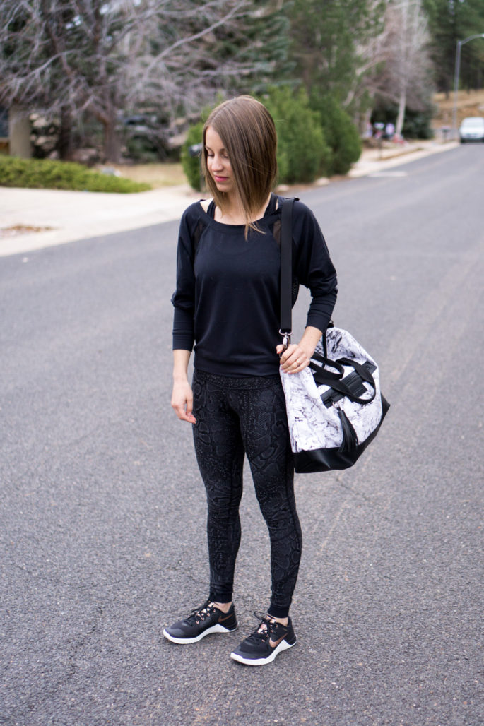 Snake print leggings with marble bag and metallic Nikes
