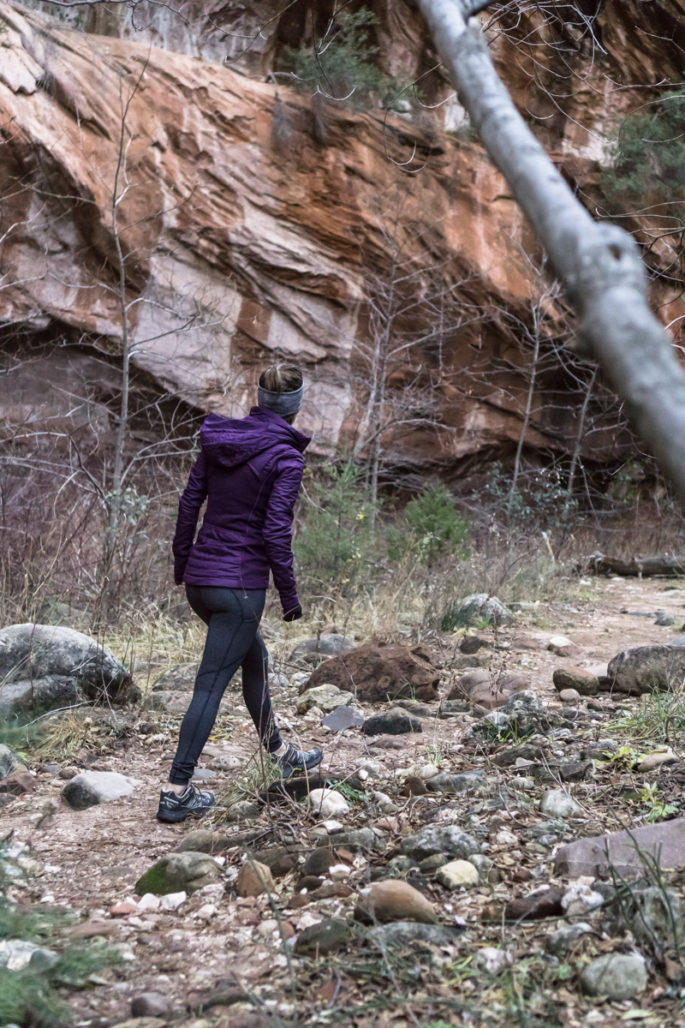Winter hiking in lululemon
