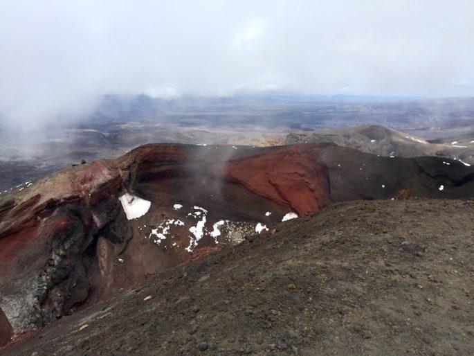 Tongariro Red Crater in clouds