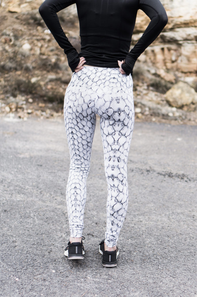 Black and white snake print workout leggings by Varley