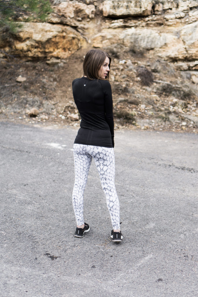 Stylish black and white workout outfit