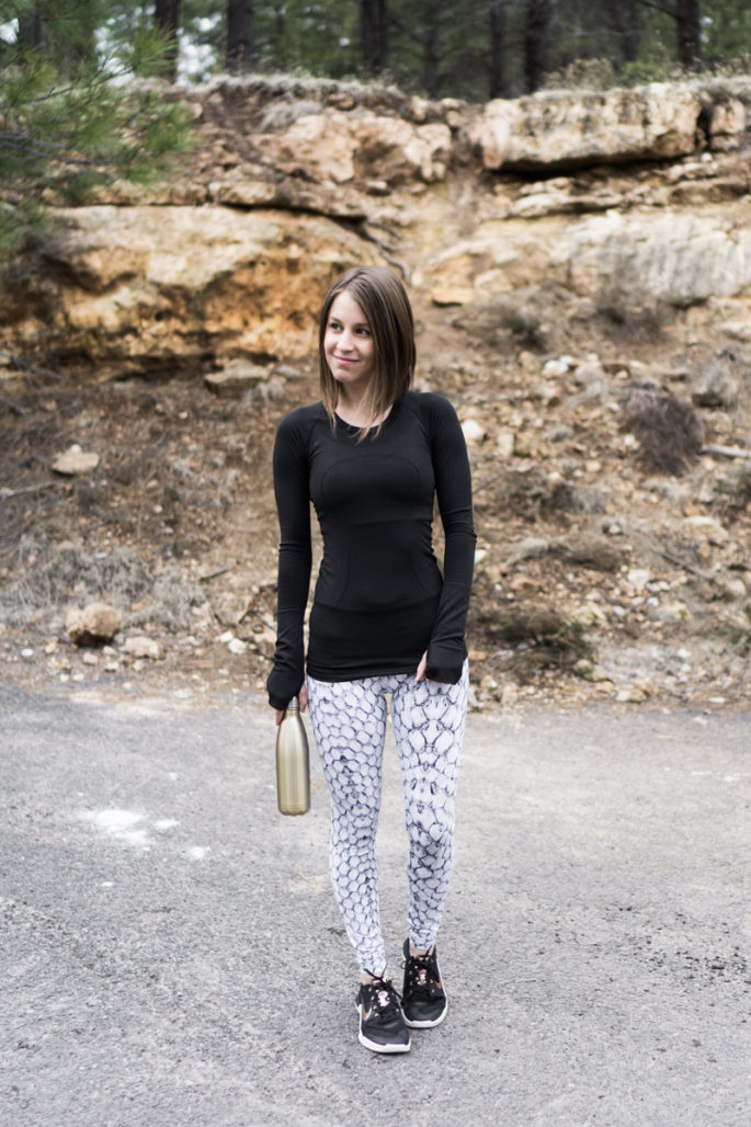 Snake print workout outfit