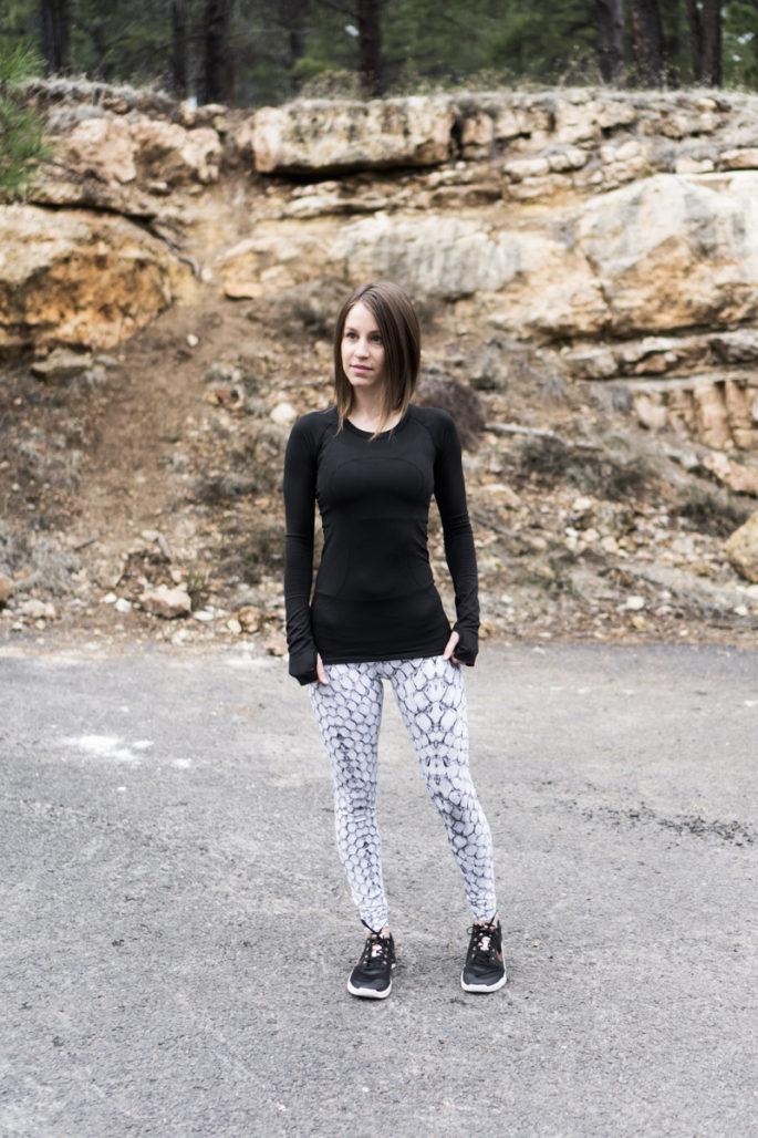 Snake print activewear look: Varley and Lululemon