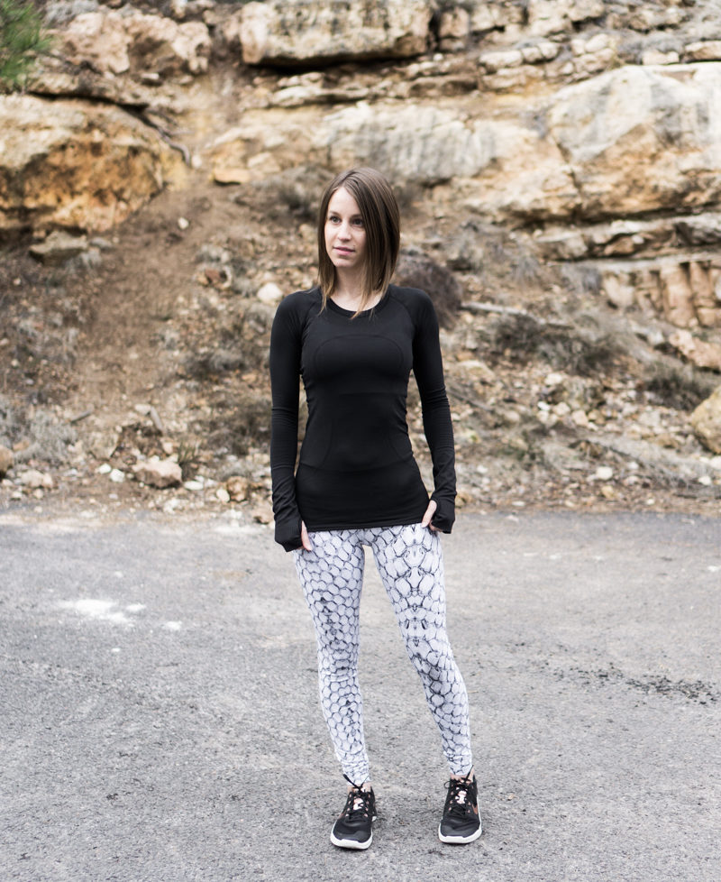 Snake print activewear look: Varley and Lululemon