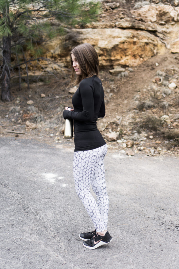 Lululemon + Varley + Nike black and white workout outfit