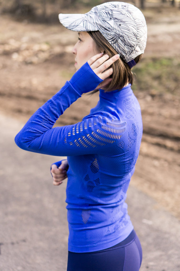 Blue run top with laser cut details