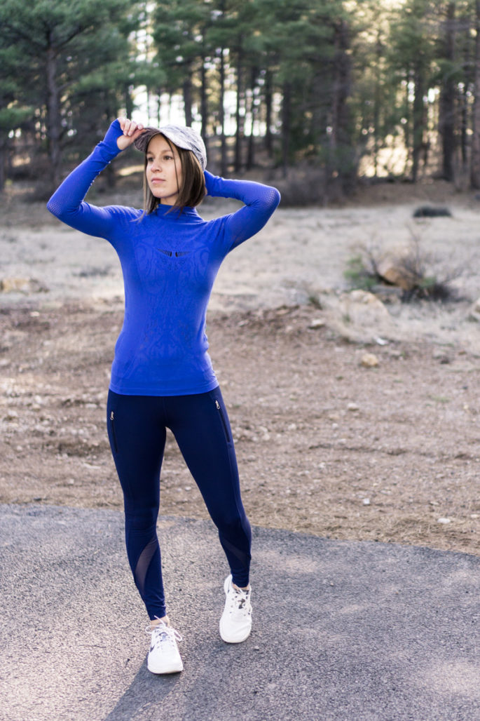 Stylish blue and white running outfit