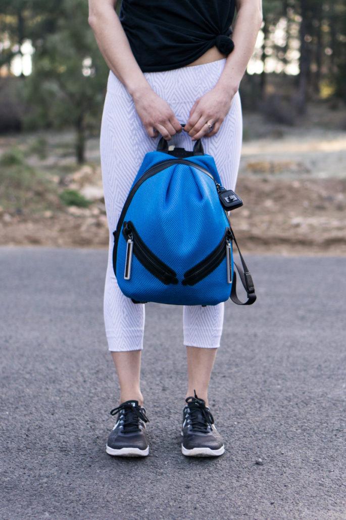 Bright blue mesh backpack