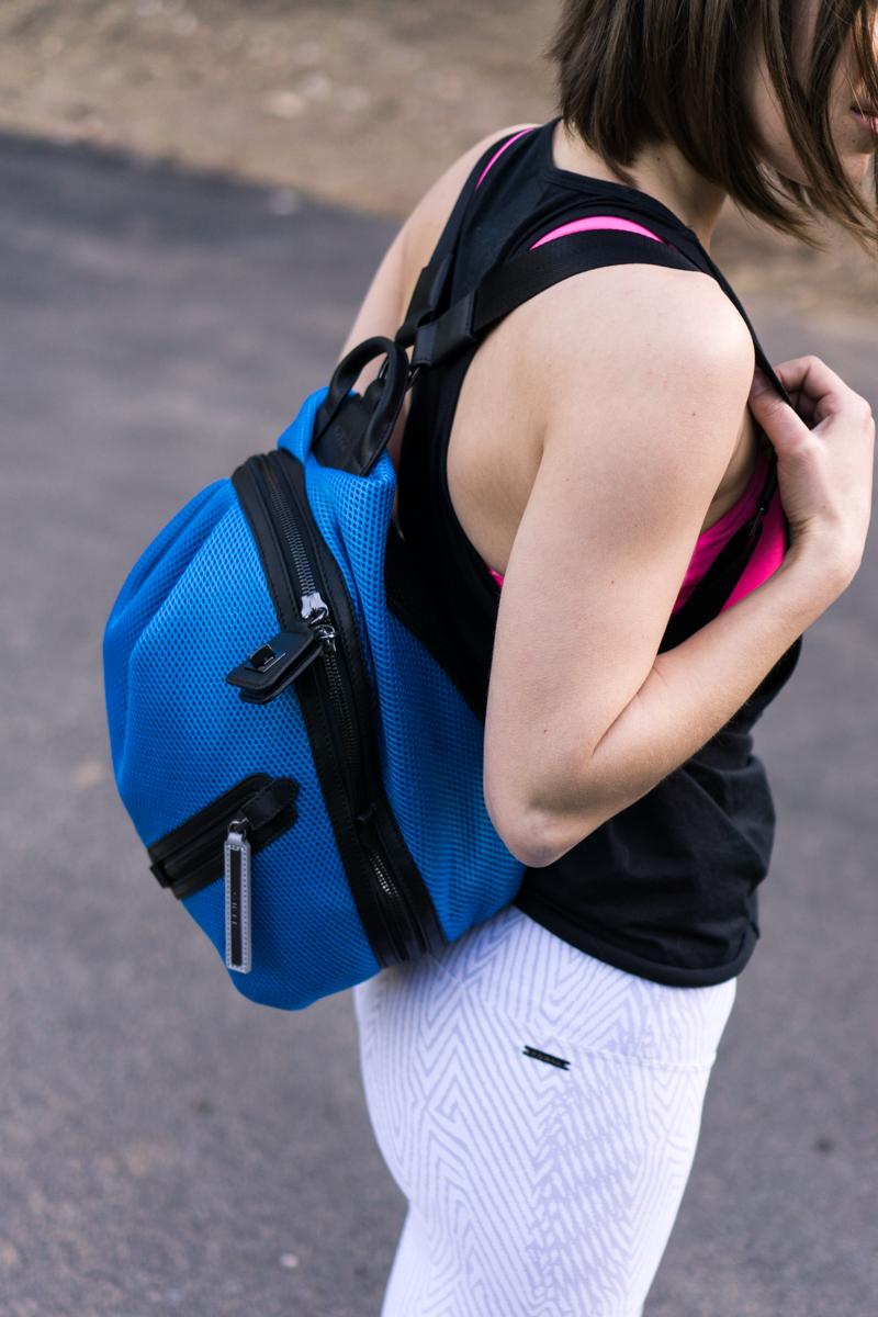 Bright blue mesh backpack by Caraa Sport