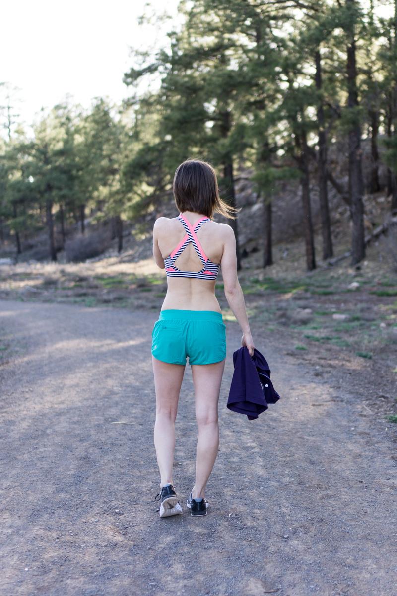 Colorful lululemon workout shorts + sports bra