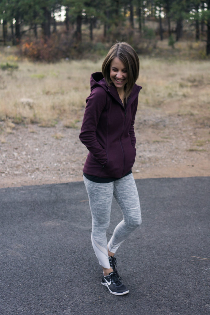 Comfy and cute fall outfit: burgundy Athleta hoodie and grey lululemon leggings