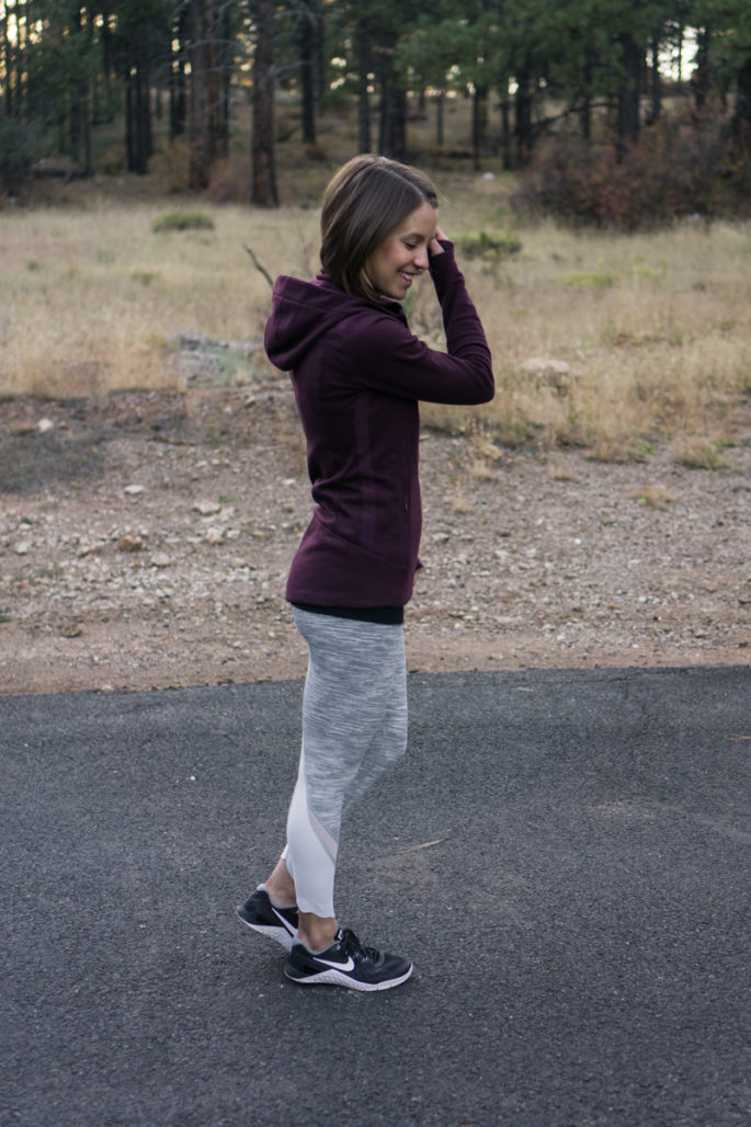 Athleta stronger hoodie | Lululemon wunder under crops in silver spoon