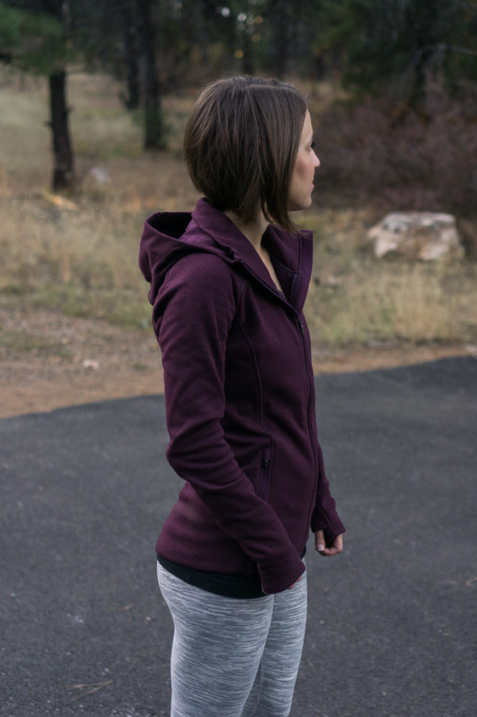 Fall fitness fashion: burgundy zip-up jacket