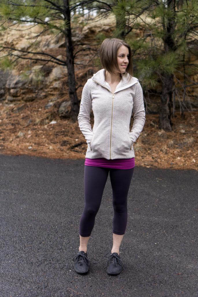 Athleta hoodie and lululemon align leggings