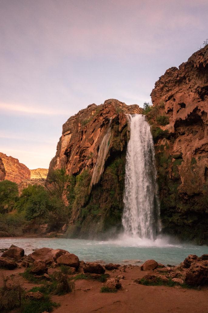 Havasu Falls at Sunset - Havasupai Backpacking Guide