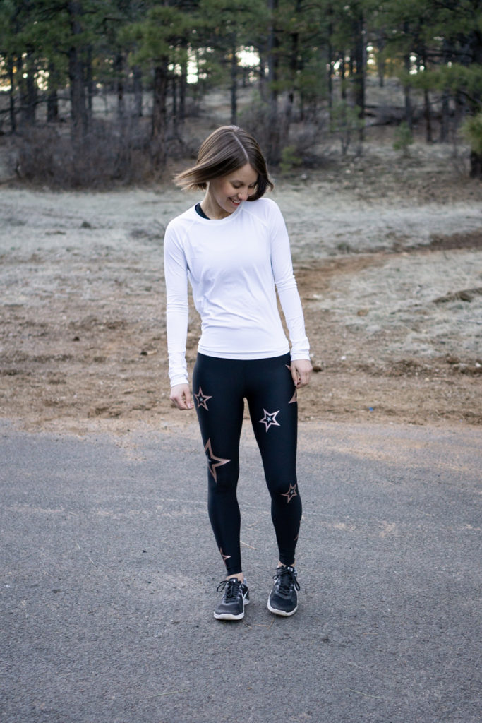Workout outfit with rose gold star leggings