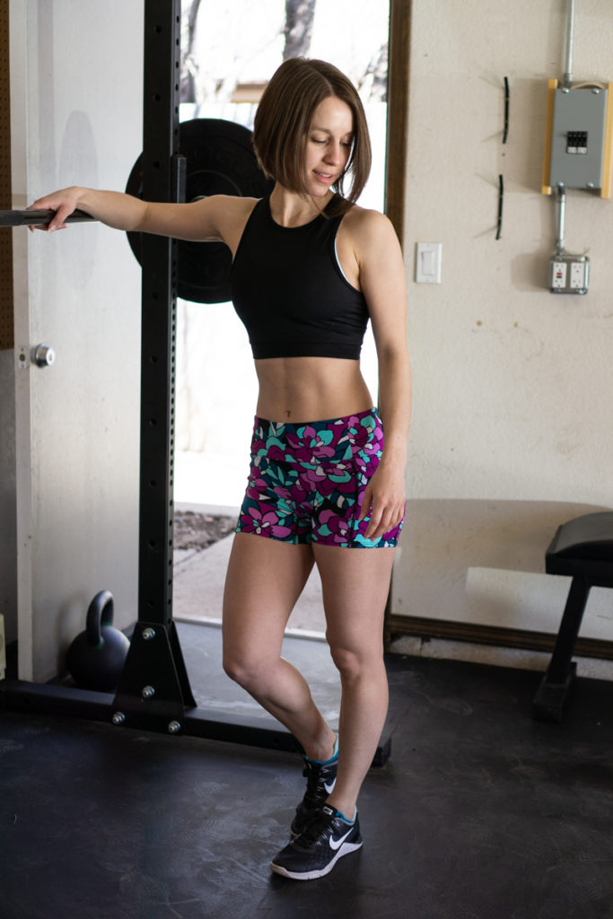 Bright floral workout shorts + crop top outfit