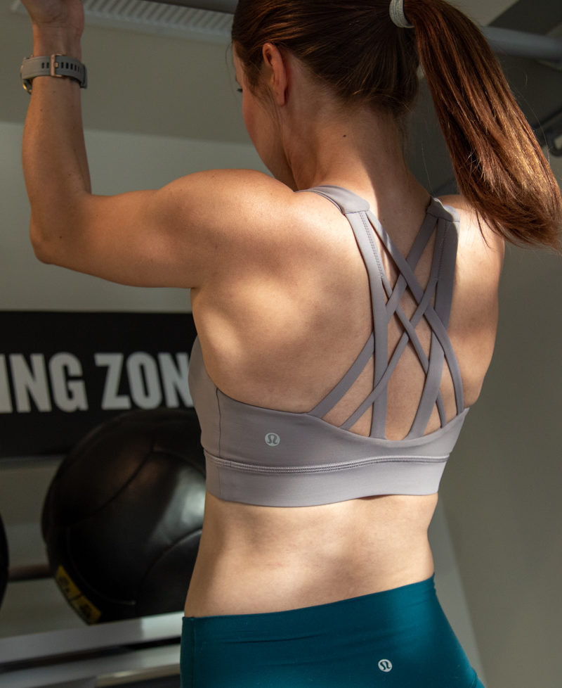Lululemon strappy sports bra for strength workouts