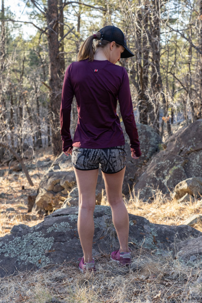 Fall running outfit: Tracksmith top and lululemon shorts